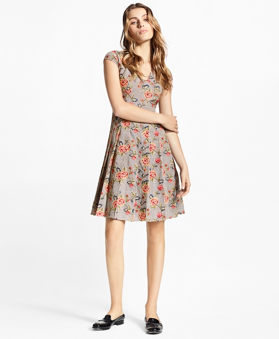 9edff101 Floral-Embroidered Mini-Houndstooth Cotton Dress - Brooks Brothers