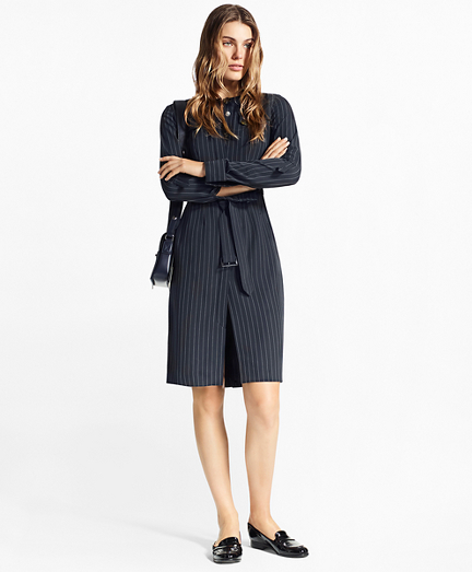 Pinstripe Trench Dress