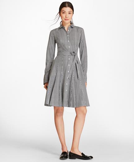 Checked Cotton Poplin Godet Shirt Dress