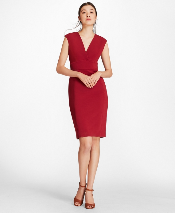 Double-Weave Crepe Sheath Dress Dark Red