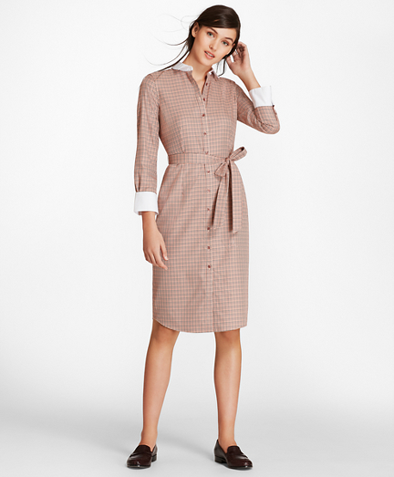 Mini-Plaid Cotton Twill Shirt Dress