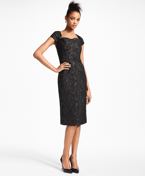Paisley Jacquard Cocktail Dress Black