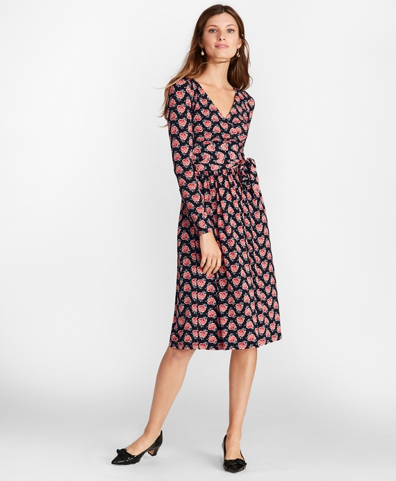 Rose-Print Jersey Faux Wrap Dress Black Multi