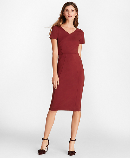 Ponte-Knit V-Neck Sheath Dress