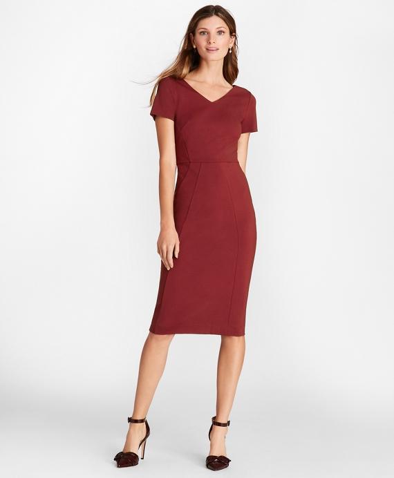 ab5f8e7b22 Ponte-Knit V-Neck Sheath Dress Dark Red