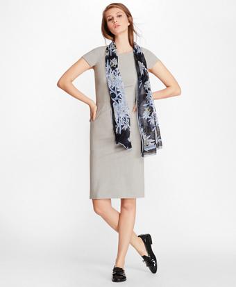 Stretch-Wool Cap Sleeve Sheath Dress