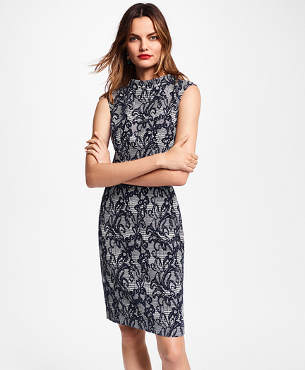Floral Glen Plaid Jacquard Sheath Dress