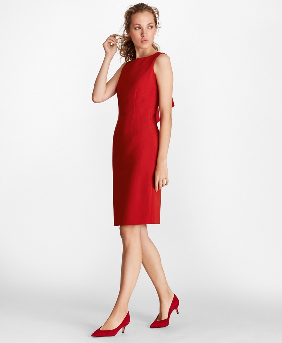 Double Weave Tie Back Sheath Dress by Brooks Brothers