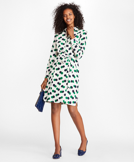 Halftone Dot-Print Crepe Shirt Dress