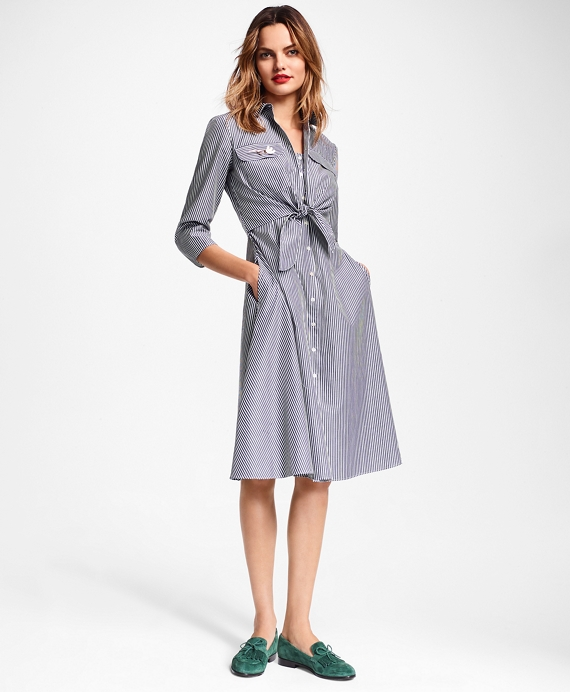 1b1a62bd0 Striped Cotton Poplin Tie-Waist Shirt Dress - Brooks Brothers