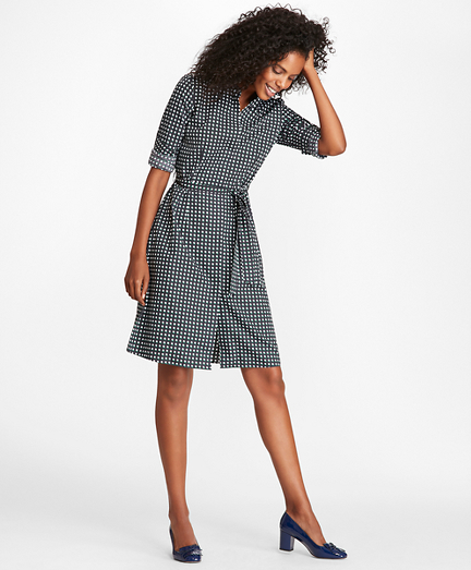 Halftone Dot-Print Cotton Sateen Shirt Dress