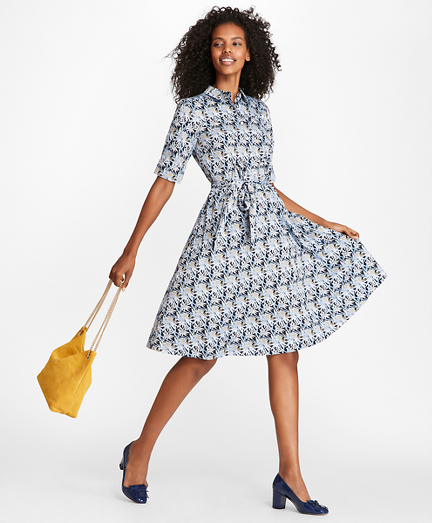 Bamboo-Print Cotton Sateen Shirt Dress