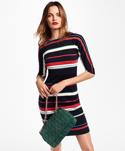 Striped Supima® Cotton Interlock Jersey Dress