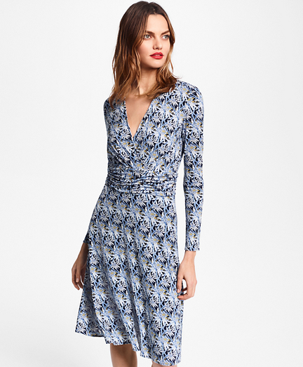 Bamboo-Print Jersey Faux Wrap Dress