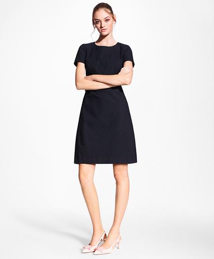 Stretch-Cotton Jacquard Shift Dress