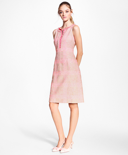 Checked Boucle Sheath Dress
