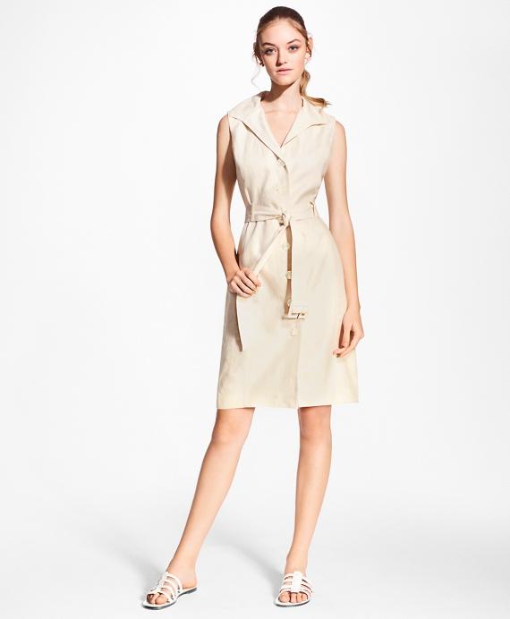 Linen Shirt Dress Tan