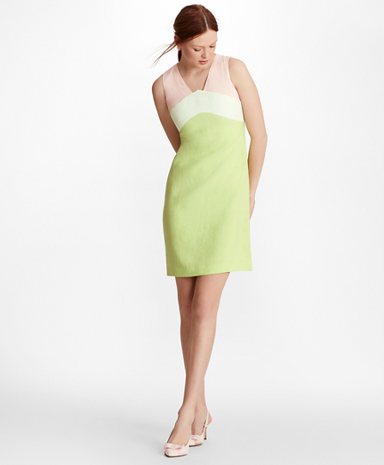Colorblock Linen-Blend Dupioni Shift Dress