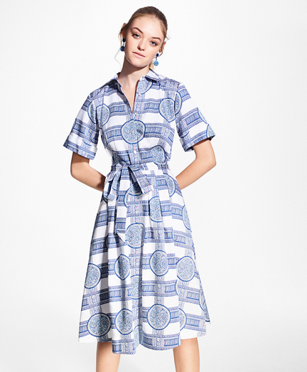 Porcelain-Print Cotton Sateen Shirt Dress