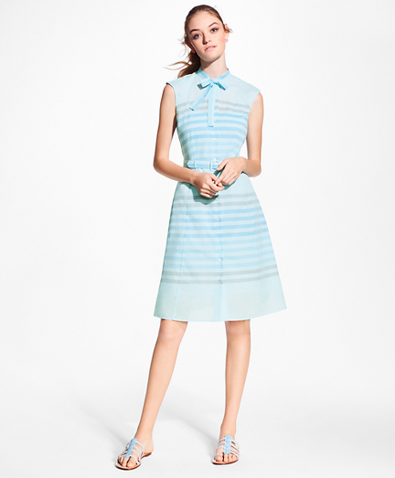 Striped Cotton Poplin Tie-Neck Shirt Dress