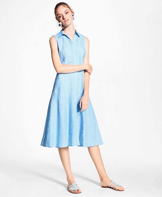 Striped Linen Shirt Dress Aqua