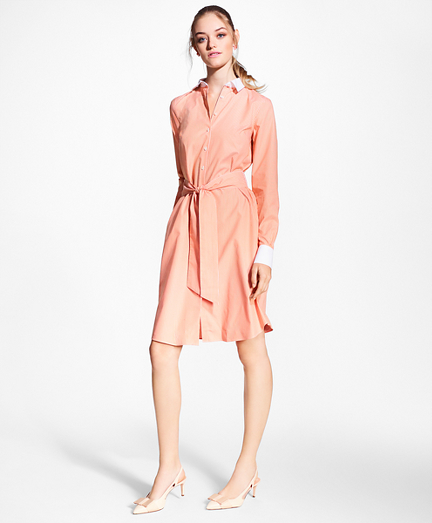 Non-Iron Striped Stretch Cotton Poplin Shirt Dress