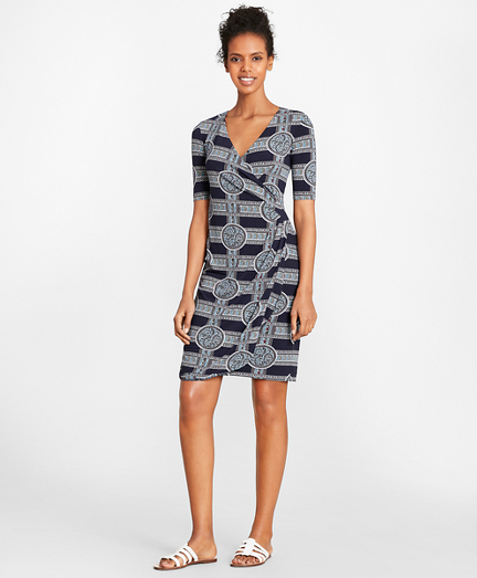 Porcelain-Print Jersey Faux Wrap Dress