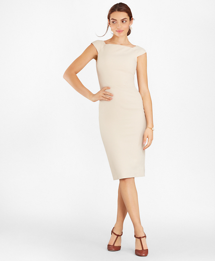 Double-Weave Square-Neck Sheath Dress