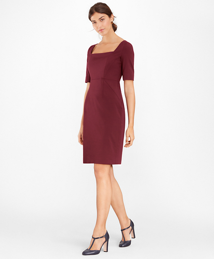 Stretch-Wool Square-Neck Sheath Dress