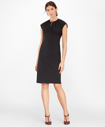Stretch Wool Cap Sleeve Sheath Dress
