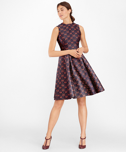 Floral Jacquard Pleated Dress
