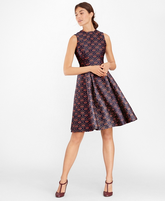 Floral Jacquard Pleated Dress Blue-Multi