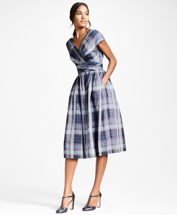 Plaid Linen Dress Blue-Multi