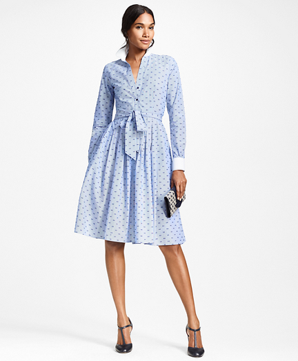 Clip-Dot Cotton Dobby Shirt Dress