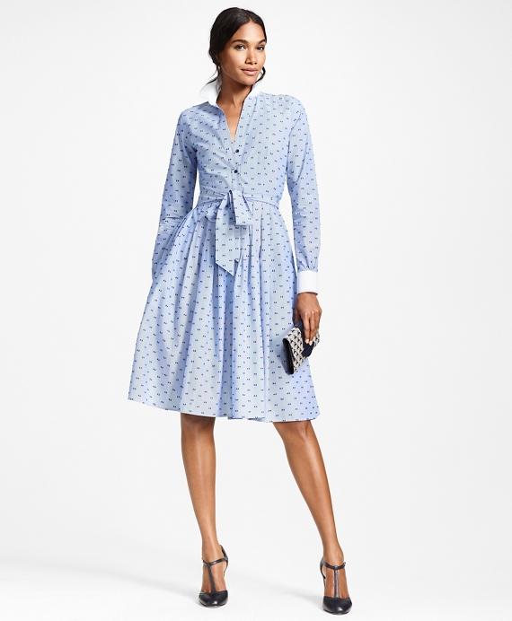 Clip-Dot Cotton Dobby Shirt Dress Blue