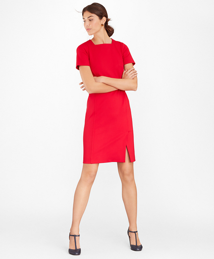 Square-Neck Ponte Sheath Dress