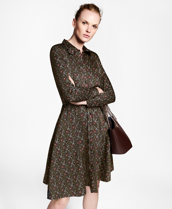 Violette-Print Cotton Sateen Shirt Dress Navy