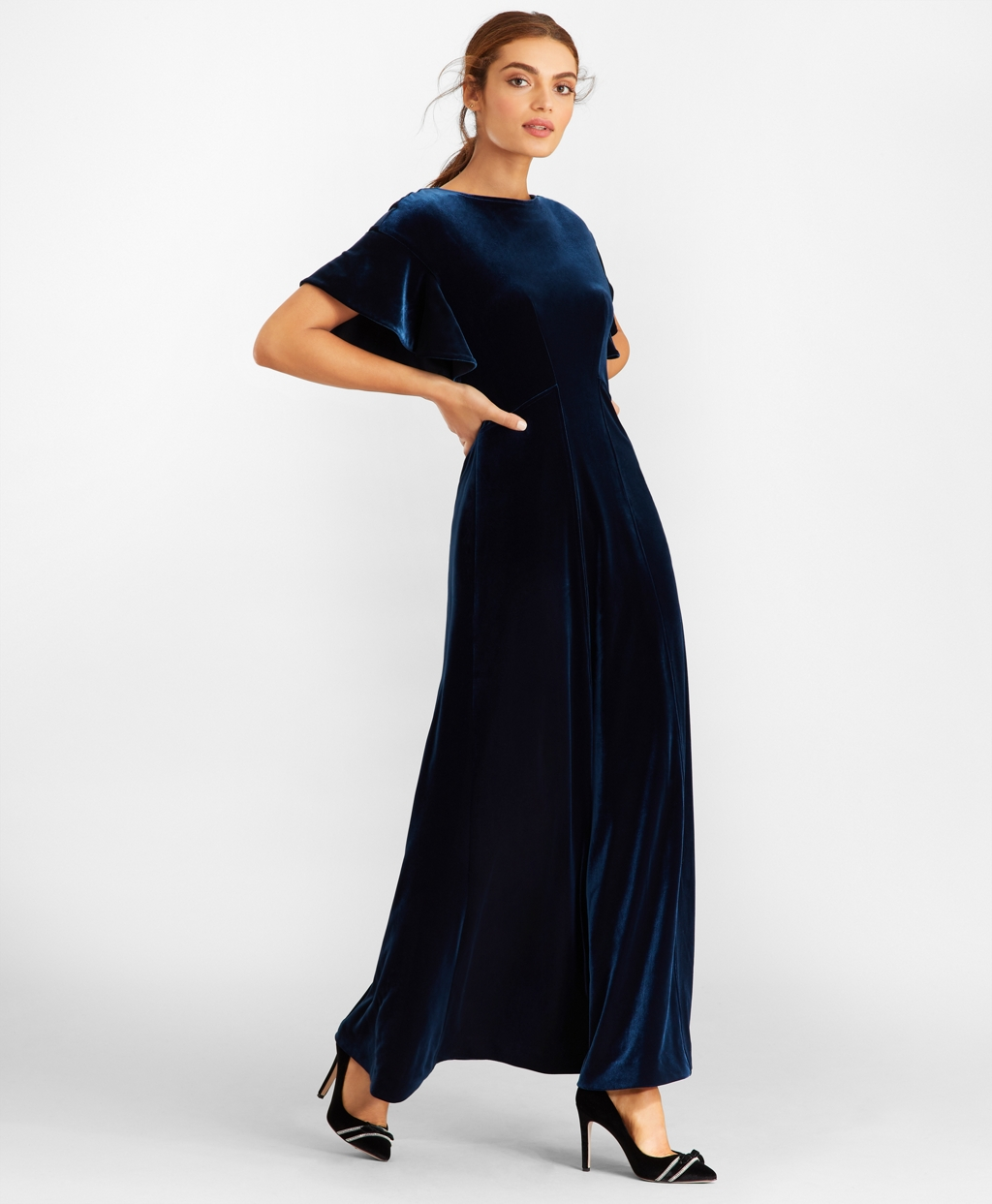 Vintage Evening Dresses and Formal Evening Gowns Brooks Brothers Womens Velvet Gown $298.00 AT vintagedancer.com