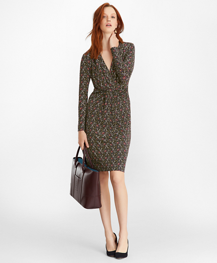 Violette-Print Jersey Faux Wrap Dress