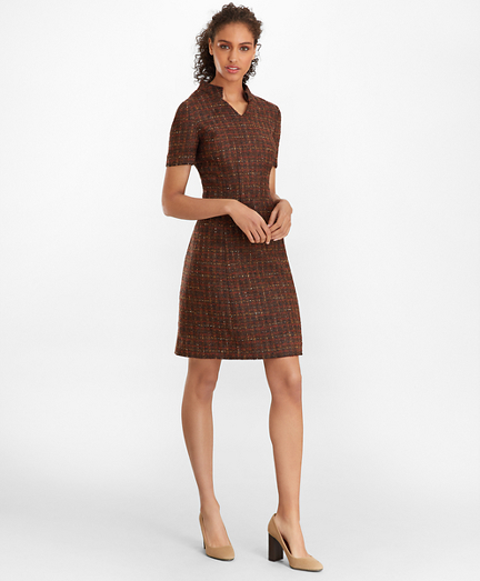 Checked Boucle Tweed Dress