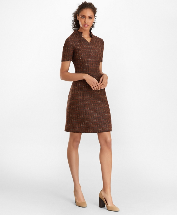 Checked Boucle Tweed Dress Brown