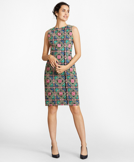 Floral-Embroidered Chiffon Sheath Dress