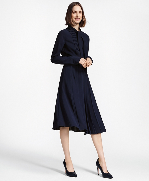 Pleated Crepe Dress Navy