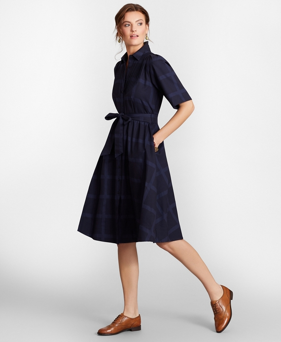 Checked Cotton Jacquard Shirt Dress Navy