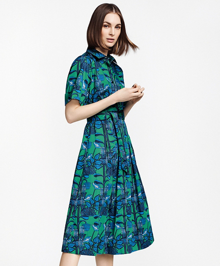 Floral-Print Supima® Cotton Sateen Shirt Dress