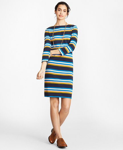 Striped Supima® Cotton Interlock Jersey Shift Dress