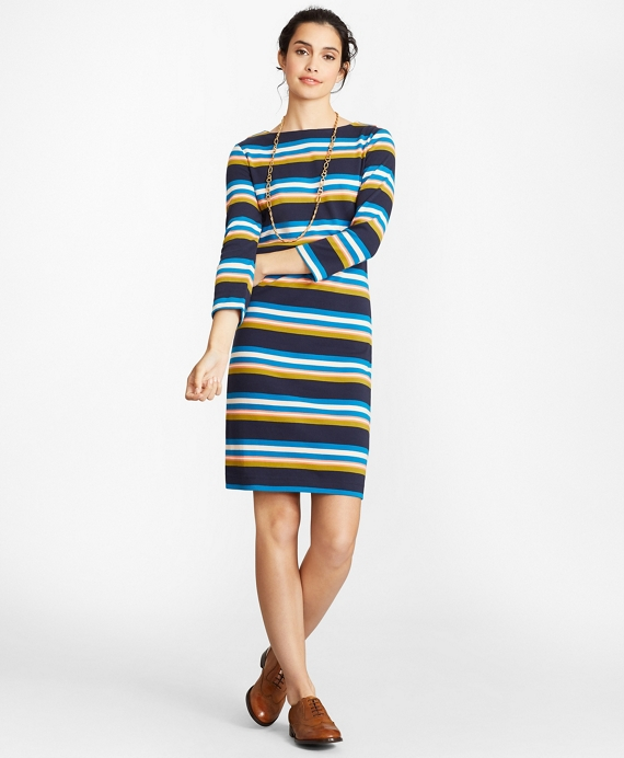 Striped Supima® Cotton Interlock Jersey Shift Dress Blue-Multi