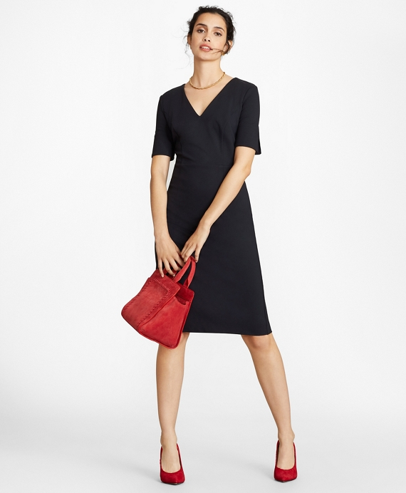 Ponte Knit Elbow-Sleeve Sheath Dress Navy
