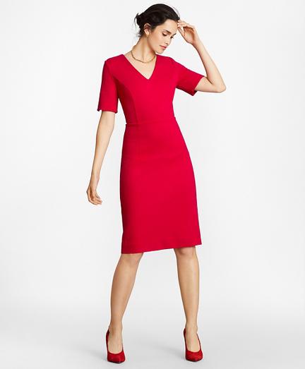 Ponte Knit Elbow-Sleeve Sheath Dress