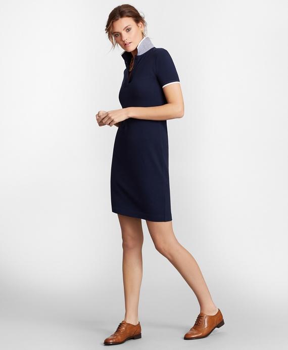 Stretch Cotton Pique Polo Dress Navy